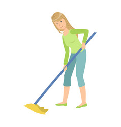 woman washing floor with the mop cartoon adult vector image