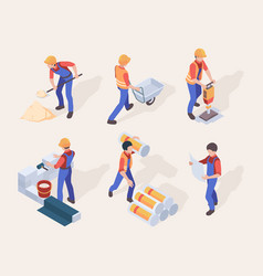 workers isometric builders in uniform different vector image