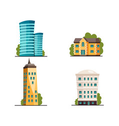 buildings icon set different heights residential vector image vector image