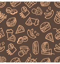 fast food seamless background vector image vector image