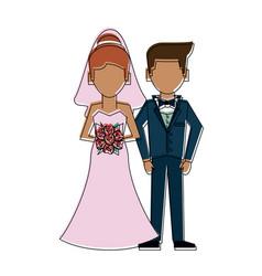 husband and bride cartoon vector image