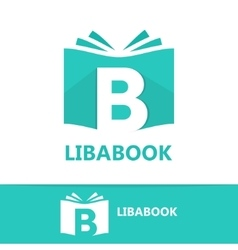 logo combination of a book and letter b vector image vector image