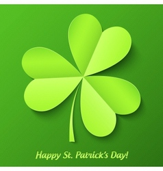 Green paper cutout clover Patricks Day card vector image vector image