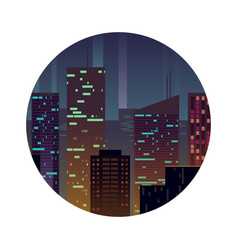 night city with shining buildings vector image vector image