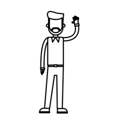 outlined standing man with arm up design vector image