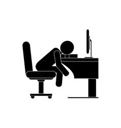 Person sleeping on desk icon vector