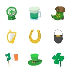 Saint Patrick day icons set cartoon style vector image