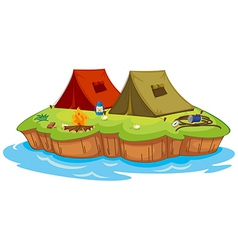 Base camp on an island vector image vector image