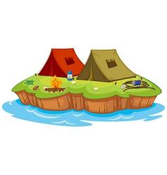Base camp on an island vector image