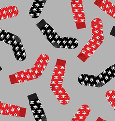 Black and Red socks with skull seamless pattern vector image vector image