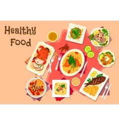 Meat dishes with seafood salad icon vector image vector image