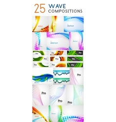 Mega collection of wave abstract compositions vector image