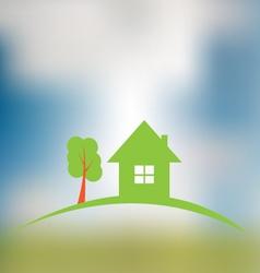 Real estate construction logo on blurred vector image