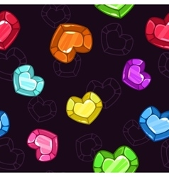 Seamless pattern with colorful crystal hearts vector image