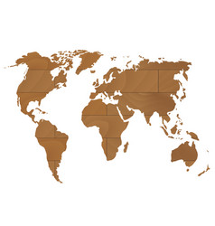wooden world map vector image vector image