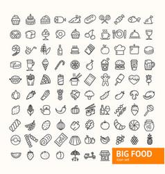 big food black thin line icon set vector image vector image