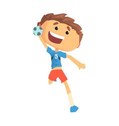 Boy handball player character cartoon vector