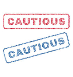 cautious textile stamps vector image vector image