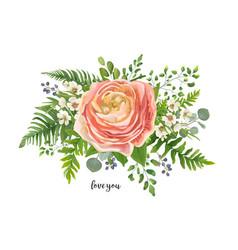flower bouquet watercolor element peach pink vector image vector image