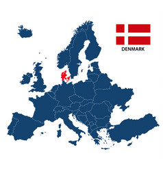 map of europe with highlighted denmark vector image