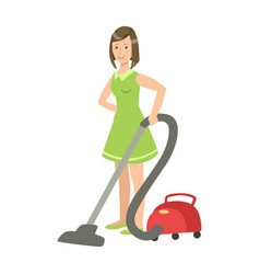 woman cleaning the floor with vacuum cleaner vector image