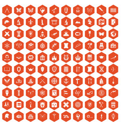 100 archeology icons hexagon orange vector