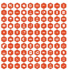 100 dispatcher icons hexagon orange vector