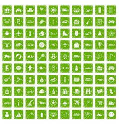 100 toys for kids icons set grunge green vector image vector image
