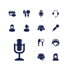 13 microphone icons vector