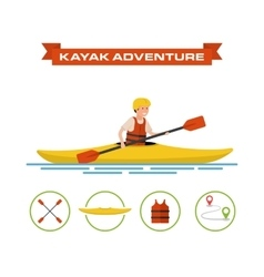 A cartoon kayaker vector