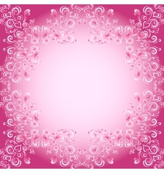 Abstract floral background with hearts in pink vector