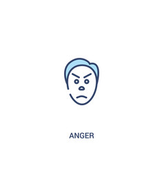Anger concept 2 colored icon simple line element vector