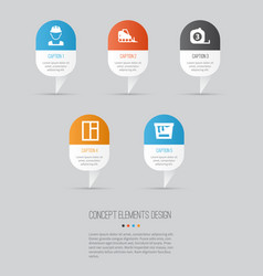 architecture icons set collection of tractor vector image vector image