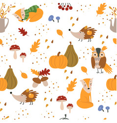 autumn seamless pattern with cute forest animals vector image