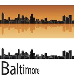 Baltimore skyline in orange background vector image