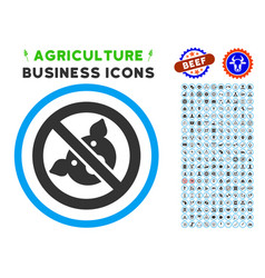 banned pig rounded icon with set vector image