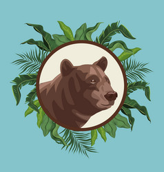 Bear drawing over blue background with leaves vector