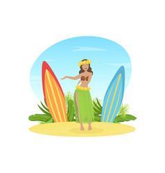 beautiful hawaiian young woman in traditional vector image
