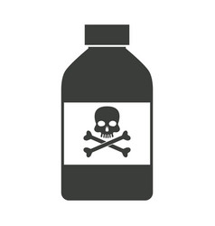Bottle poison chemical danger skull bone vector