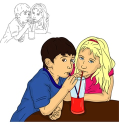 Boy and girl drinks vector