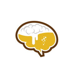 Brain beer logo icon design vector