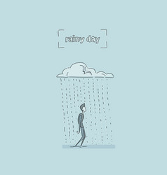 Business man standing under rain cloud rainy day vector