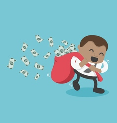 Businessman happy with carrying a lot of money vector image