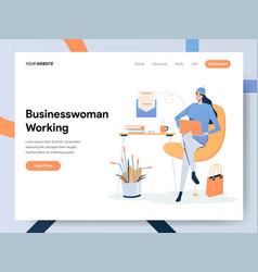 businesswoman working on desk concept modern vector image
