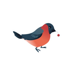 cartoon bullfunch bird with berry icon vector image