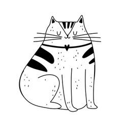 Cat pet mascot cartoon isolated icon line style vector