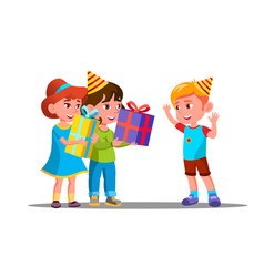 children give birthday gifts to a friend vector image