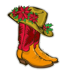 Christmas Cowboy boots and western hat with vector