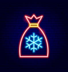 Christmas santa bag neon sign vector