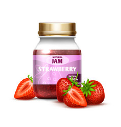 Closeup glass jar with strawberry jam and berries vector